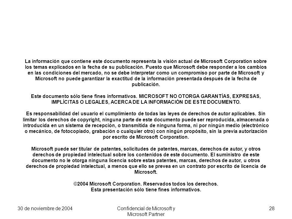 30 de noviembre de 2004Confidencial de Microsoft y Microsoft Partner 28 La información que contiene este documento representa la visión actual de Micr
