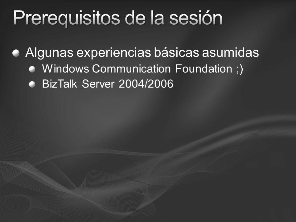 Windows Communication Foundation (WCF) Whitepaper de David Chappell (en inglés) http://www.davidchappell.com/articles/white_papers/Introducing_WCF_in_.NET_Framework_3.5_v1.0.docx http://www.davidchappell.com/articles/white_papers/Introducing_WCF_in_.NET_Framework_3.5_v1.0.docx Encaminamiento http://msdn.microsoft.com/msdnmag/issues/07/06/ServiceStation/Default.aspx?loc=es http://msdn.microsoft.com/msdnmag/issues/07/06/ServiceStation/Default.aspx?loc=es Seguridad http://msdn.microsoft.com/msdnmag/issues/07/08/Foundations/Default.aspx?topics=/msdnmag/issues/07/08/F oundations&loc=es http://msdn.microsoft.com/msdnmag/issues/07/08/Foundations/Default.aspx?topics=/msdnmag/issues/07/08/F oundations&loc=es Transacciones http://msdn.microsoft.com/msdnmag/issues/07/08/Foundations/Default.aspx?topics=/msdnmag/issues/07/08/F oundations&loc=es http://msdn.microsoft.com/msdnmag/issues/07/08/Foundations/Default.aspx?topics=/msdnmag/issues/07/08/F oundations&loc=es BizTalk Server 2006 R2 Sitio de producto en España http://www.microsoft.com/spain/biztalk http://www.microsoft.com/spain/biztalk Adaptadores de WCF (en inglés) http://msdn2.microsoft.com/en-us/library/bb967002.aspx http://msdn2.microsoft.com/en-us/library/bb967002.aspx Seguridad http://msdn2.microsoft.com/en-us/library/bb226495.aspxhttp://msdn2.microsoft.com/en-us/library/bb226495.aspx WCF LOB Adapter SDK http://msdn2.microsoft.com/en-us/library/bb798080.aspx http://msdn2.microsoft.com/en-us/library/bb798080.aspx Todo junto Integración http://msdn2.microsoft.com/en-us/library/bb973215.aspx http://msdn2.microsoft.com/en-us/library/bb973215.aspx