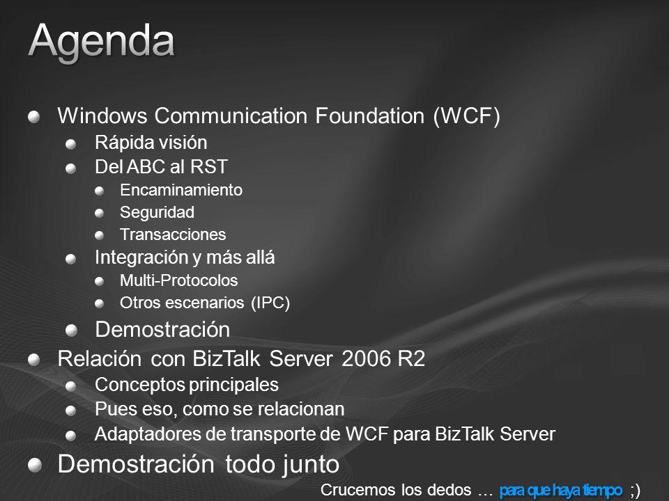 Completan el puente entre BizTalk Server y.NET 3.0 Uso similar a cualquier otro adaptador Creación de puertos de salida y localizaciones de entrada Seleccionar el adaptador WCF como transporte Configurar el adaptador para ajustar WCF Configuración almacenada en SSO