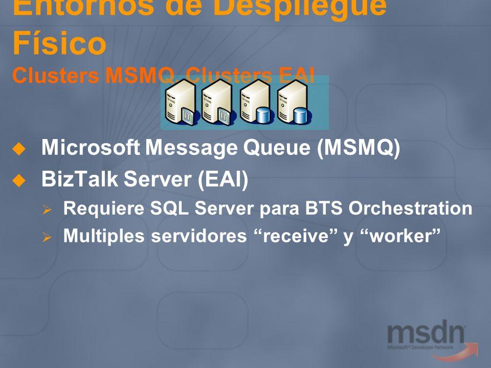 Entornos de Despliegue Físico Clusters MSMQ, Clusters EAI Microsoft Message Queue (MSMQ) BizTalk Server (EAI) Requiere SQL Server para BTS Orchestrati