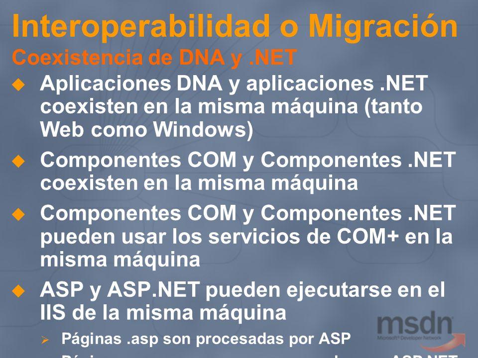 Interoperabilidad o Migración Coexistencia de DNA y.NET Aplicaciones DNA y aplicaciones.NET coexisten en la misma máquina (tanto Web como Windows) Com