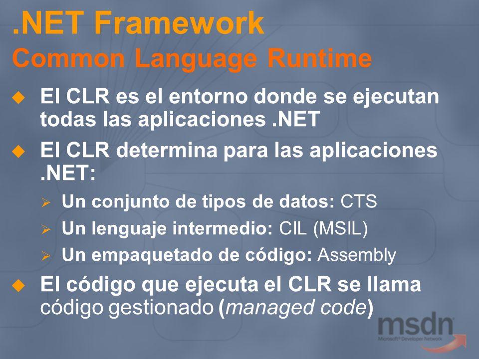 .NET Framework Common Language Runtime El CLR es el entorno donde se ejecutan todas las aplicaciones.NET El CLR determina para las aplicaciones.NET: U