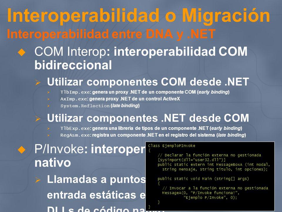Interoperabilidad o Migración Interoperabilidad entre DNA y.NET COM Interop: interoperabilidad COM bidireccional Utilizar componentes COM desde.NET Tl