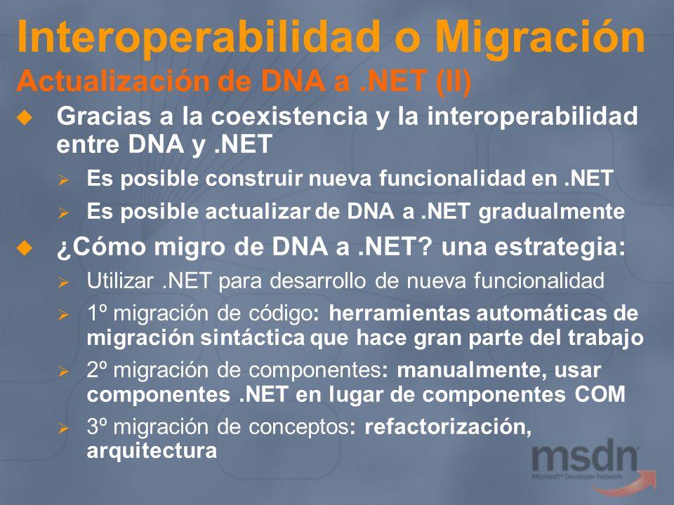 Interoperabilidad o Migración Actualización de DNA a.NET (II) Gracias a la coexistencia y la interoperabilidad entre DNA y.NET Es posible construir nu