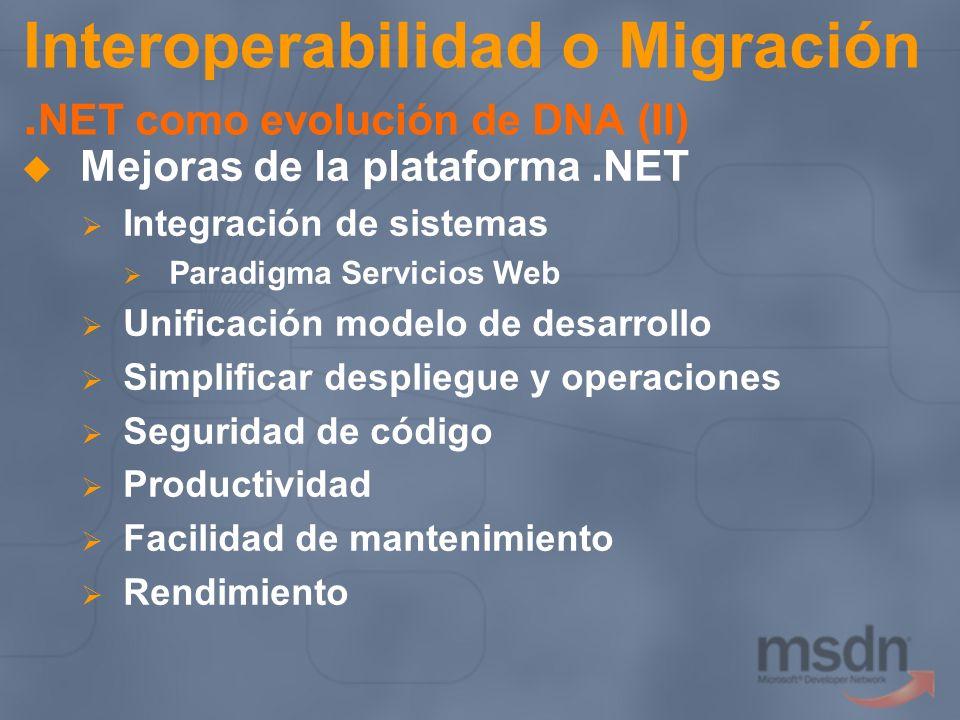 Interoperabilidad o Migración. NET como evolución de DNA (II) Mejoras de la plataforma.NET Integración de sistemas Paradigma Servicios Web Unificación