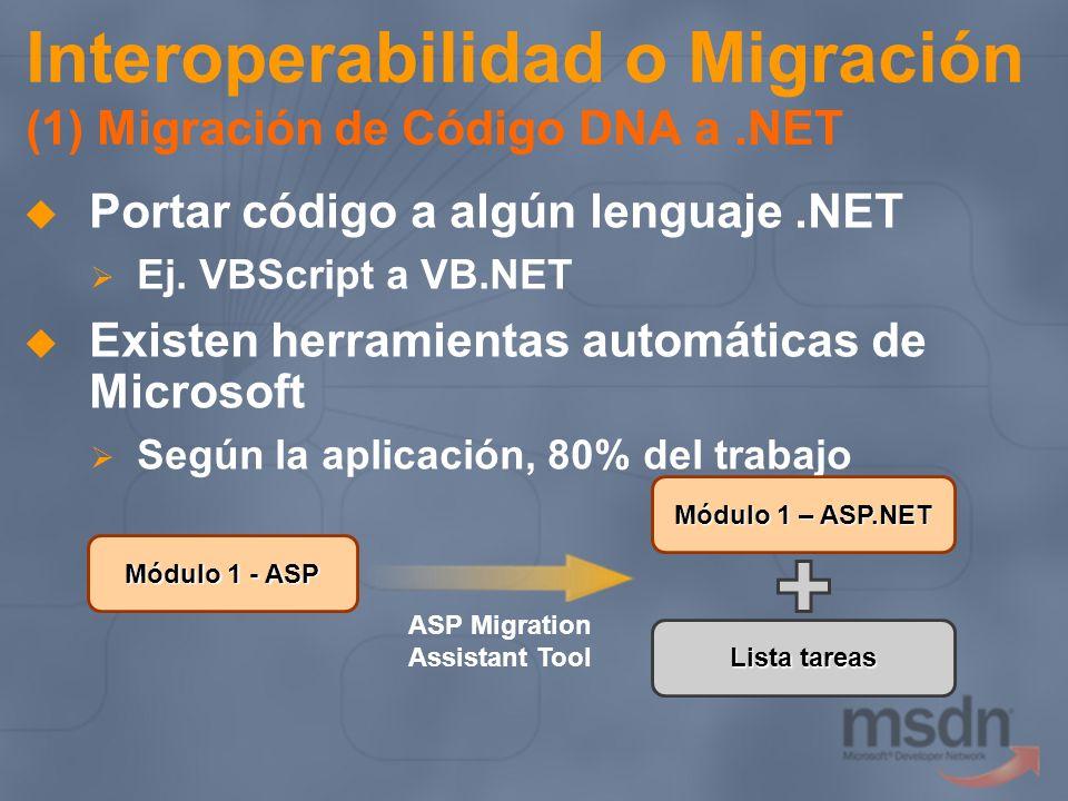 Interoperabilidad o Migración (1) Migración de Código DNA a.NET Portar código a algún lenguaje.NET Ej. VBScript a VB.NET Existen herramientas automáti