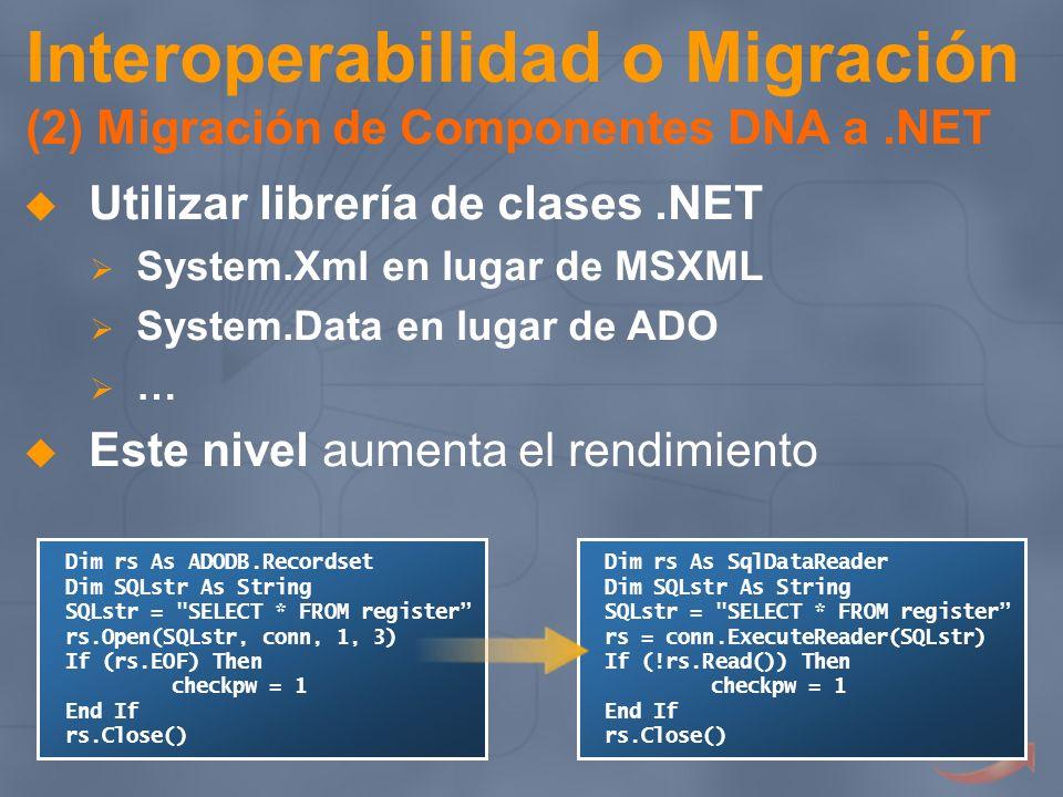 Interoperabilidad o Migración (2) Migración de Componentes DNA a.NET Utilizar librería de clases.NET System.Xml en lugar de MSXML System.Data en lugar
