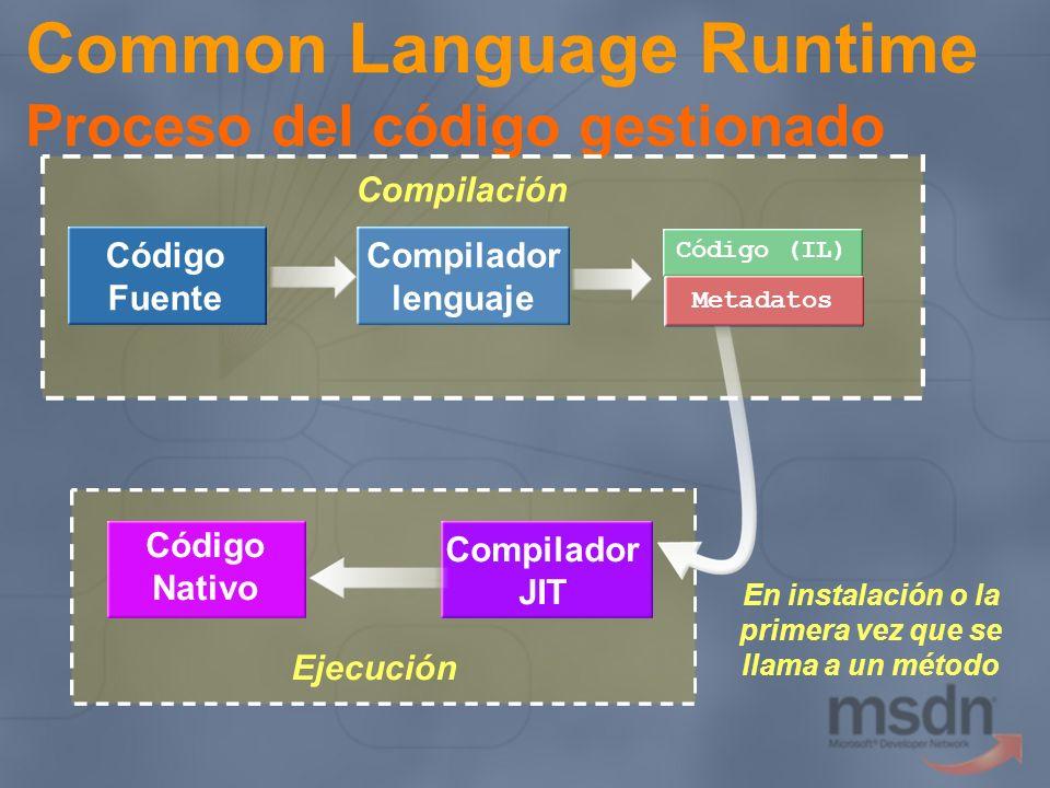Common Language Runtime Proceso del código gestionado Código Fuente Compilación En instalación o la primera vez que se llama a un método Compilador le