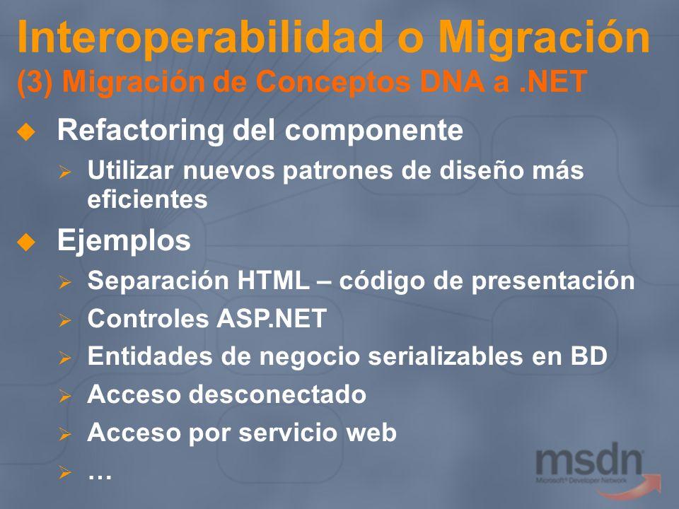 Interoperabilidad o Migración (3) Migración de Conceptos DNA a.NET Refactoring del componente Utilizar nuevos patrones de diseño más eficientes Ejempl