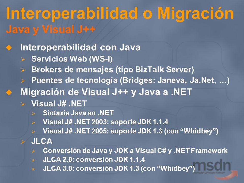 Interoperabilidad o Migración Java y Visual J++ Interoperabilidad con Java Servicios Web (WS-I) Brokers de mensajes (tipo BizTalk Server) Puentes de t