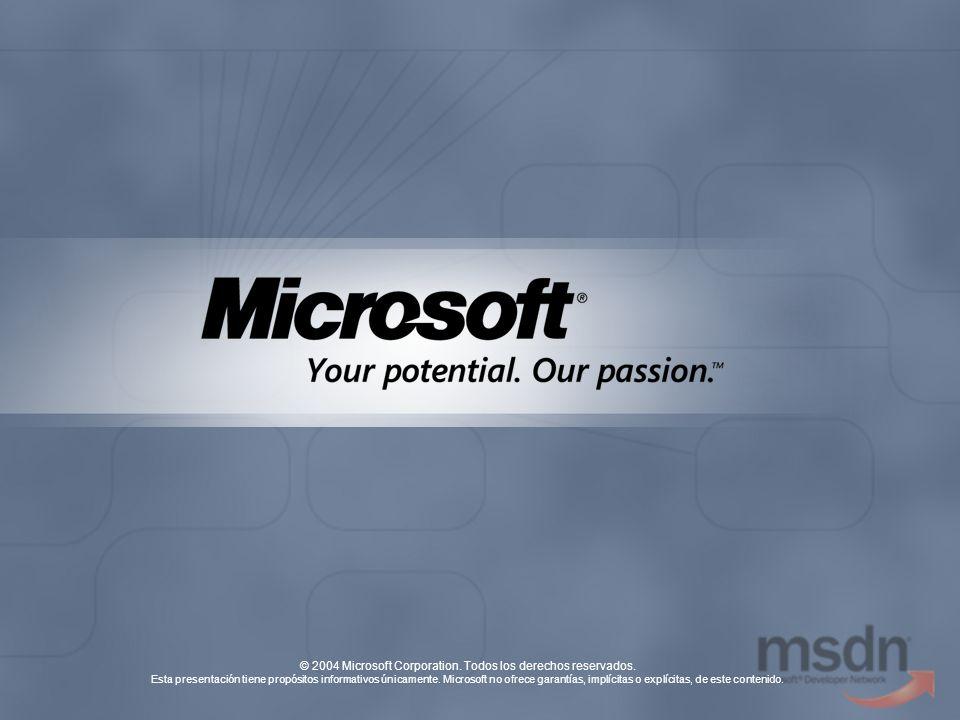 © 2004 Microsoft Corporation. Todos los derechos reservados. Esta presentación tiene propósitos informativos únicamente. Microsoft no ofrece garantías