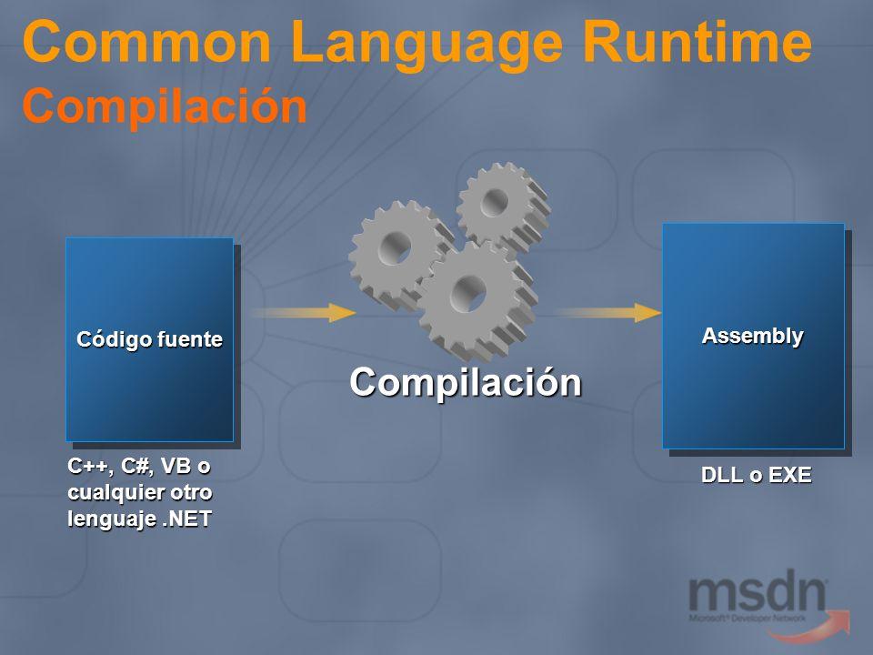 Common Language Runtime Compilación Código fuente C++, C#, VB o cualquier otro lenguaje.NET Compilación AssemblyAssembly DLL o EXE