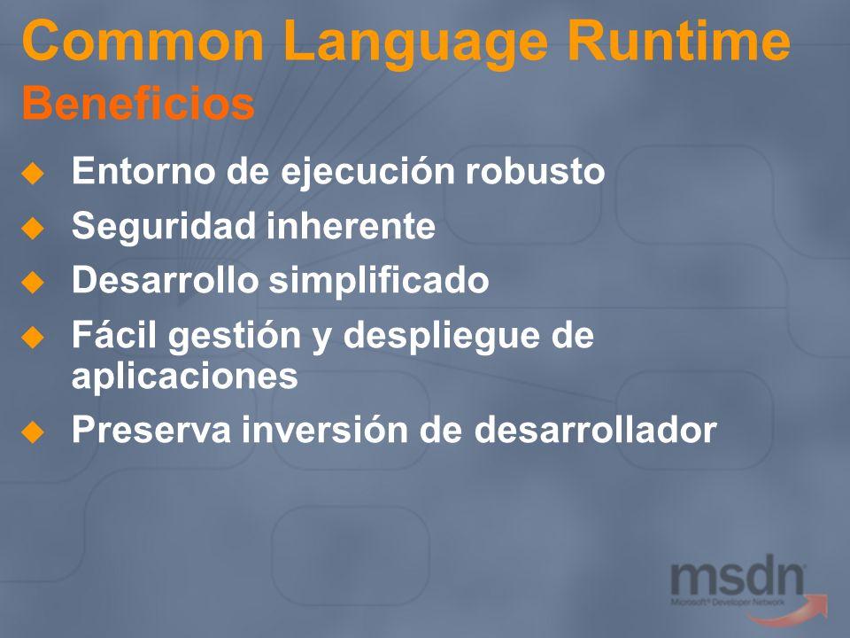 Common Language Runtime Beneficios Entorno de ejecución robusto Seguridad inherente Desarrollo simplificado Fácil gestión y despliegue de aplicaciones