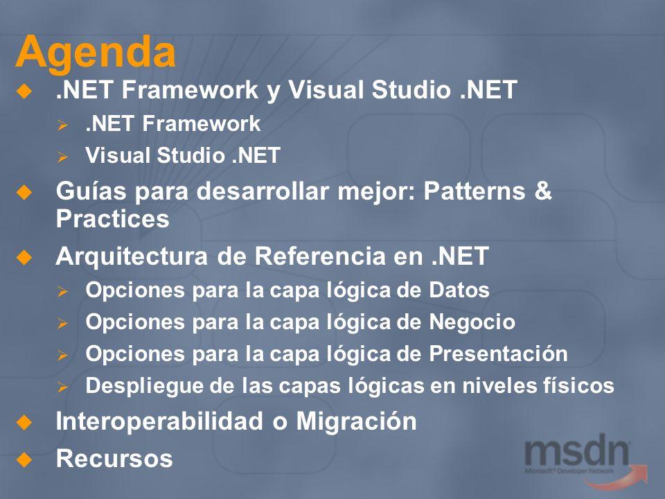 Agenda.NET Framework y Visual Studio.NET.NET Framework Visual Studio.NET Guías para desarrollar mejor: Patterns & Practices Arquitectura de Referencia