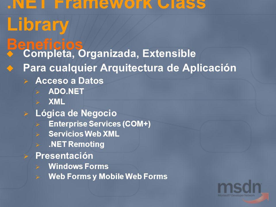 .NET Framework Class Library Beneficios Completa, Organizada, Extensible Para cualquier Arquitectura de Aplicación Acceso a Datos ADO.NET XML Lógica d