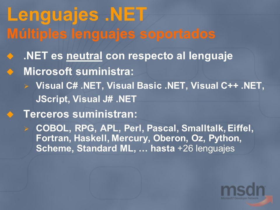 .NET es neutral con respecto al lenguaje Microsoft suministra: Visual C#.NET, Visual Basic.NET, Visual C++.NET, JScript, Visual J#.NET Terceros sumini