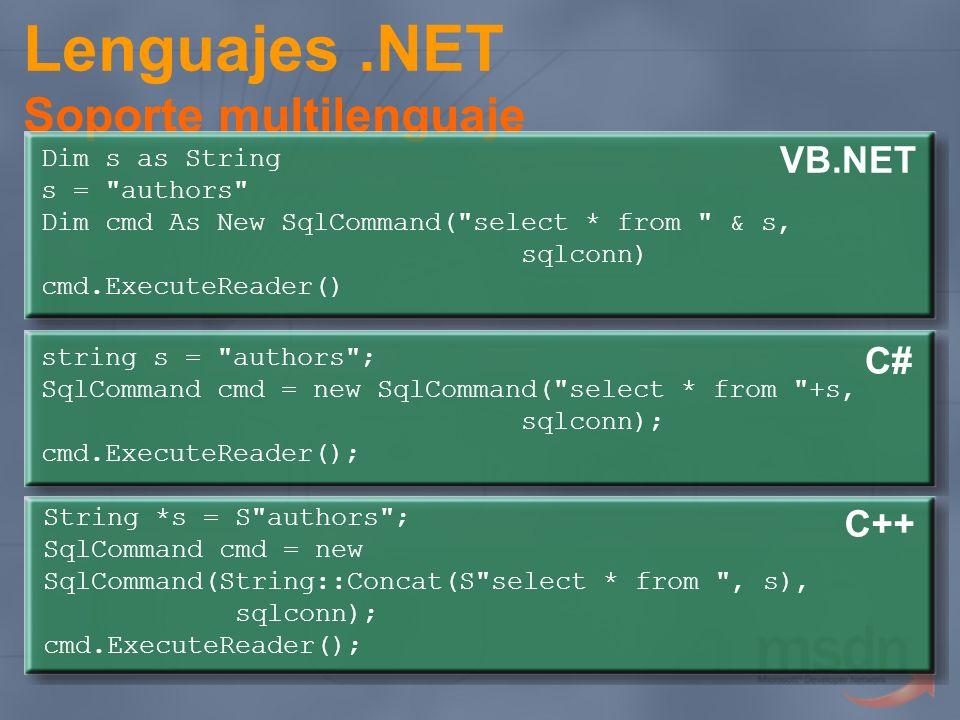 Lenguajes.NET Soporte multilenguaje string s =