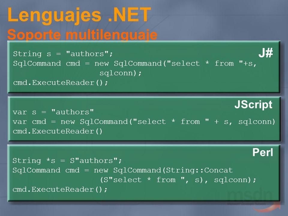 Lenguajes.NET Soporte multilenguaje J# String s =