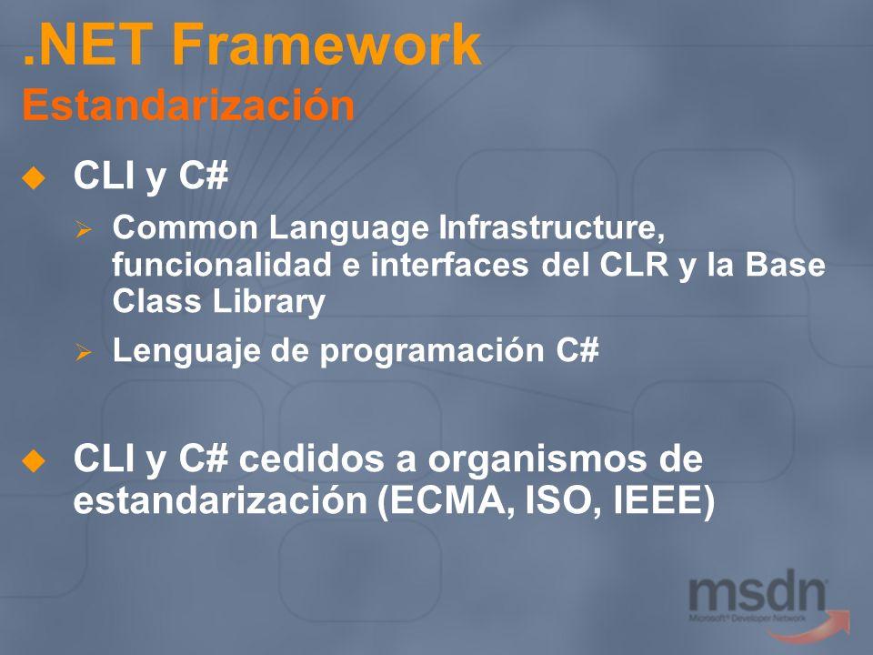 .NET Framework Estandarización CLI y C# Common Language Infrastructure, funcionalidad e interfaces del CLR y la Base Class Library Lenguaje de program