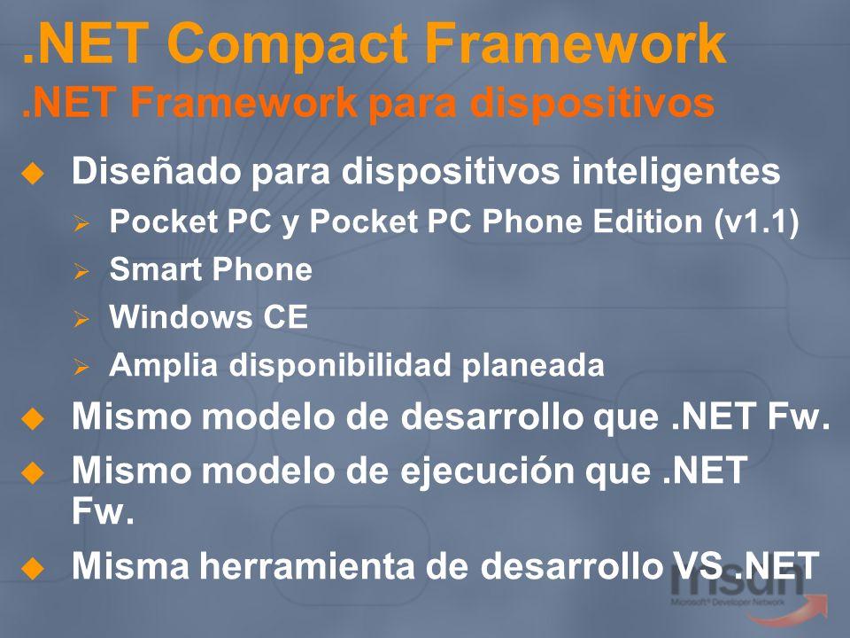 .NET Compact Framework.NET Framework para dispositivos Diseñado para dispositivos inteligentes Pocket PC y Pocket PC Phone Edition (v1.1) Smart Phone