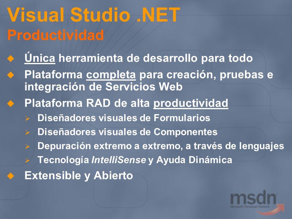 Visual Studio.NET Productividad Única herramienta de desarrollo para todo Plataforma completa para creación, pruebas e integración de Servicios Web Pl