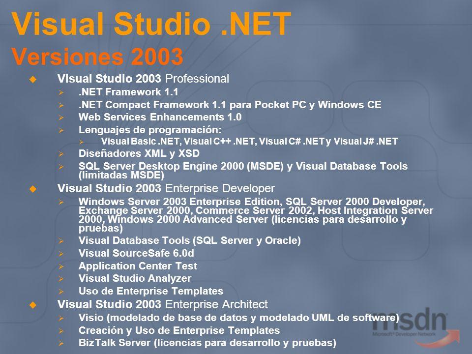 Visual Studio.NET Versiones 2003 Visual Studio 2003 Professional.NET Framework 1.1.NET Compact Framework 1.1 para Pocket PC y Windows CE Web Services