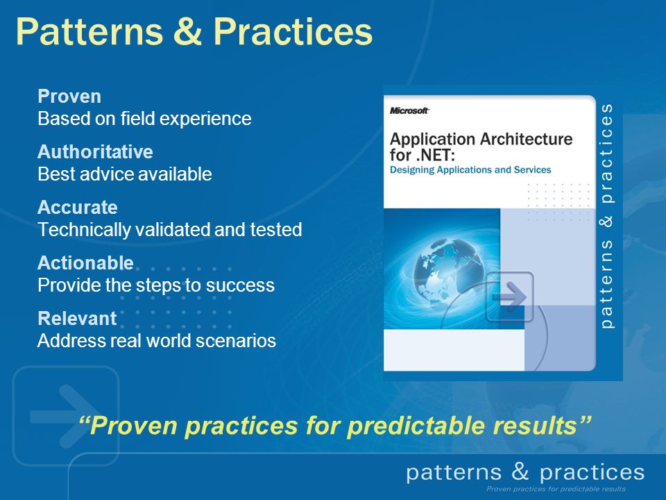Patterns & Practices Proven Based on field experience Authoritative Best advice available Accurate Technically validated and tested Actionable Provide