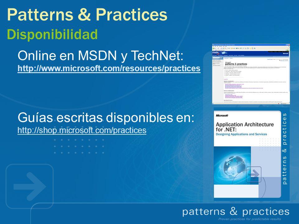 Online en MSDN y TechNet: http://www.microsoft.com/resources/practices Guías escritas disponibles en: http://shop.microsoft.com/practices Patterns & P