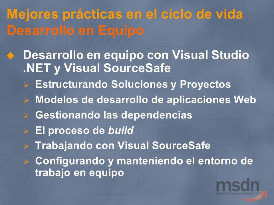Mejores prácticas en el ciclo de vida Desarrollo en Equipo Desarrollo en equipo con Visual Studio.NET y Visual SourceSafe Estructurando Soluciones y P