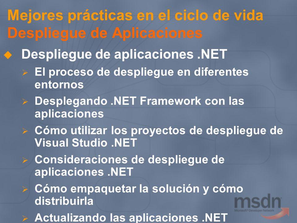 Mejores prácticas en el ciclo de vida Despliegue de Aplicaciones Despliegue de aplicaciones.NET El proceso de despliegue en diferentes entornos Desple