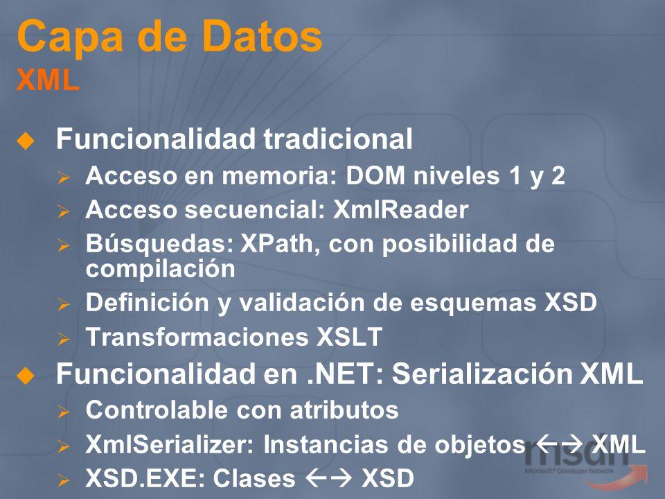 Capa de Datos XML Funcionalidad tradicional Acceso en memoria: DOM niveles 1 y 2 Acceso secuencial: XmlReader Búsquedas: XPath, con posibilidad de com