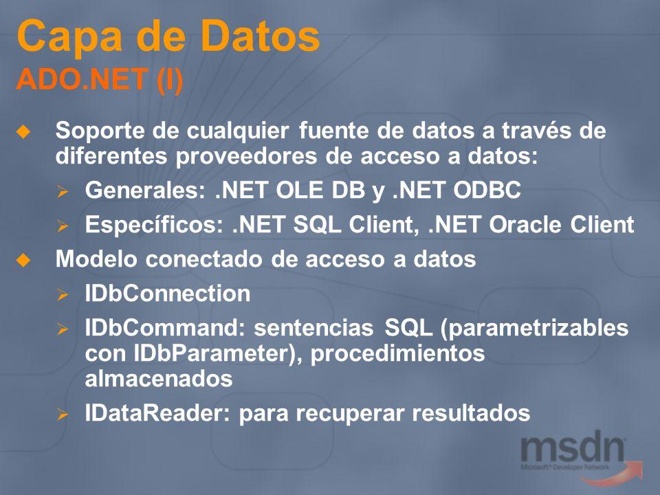 Capa de Datos ADO.NET (I) Soporte de cualquier fuente de datos a través de diferentes proveedores de acceso a datos: Generales:.NET OLE DB y.NET ODBC