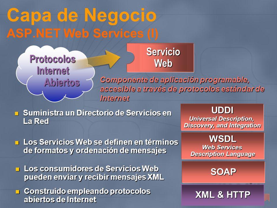SOAP Los consumidores de Servicios Web pueden enviar y recibir mensajes XML Los consumidores de Servicios Web pueden enviar y recibir mensajes XML WSD