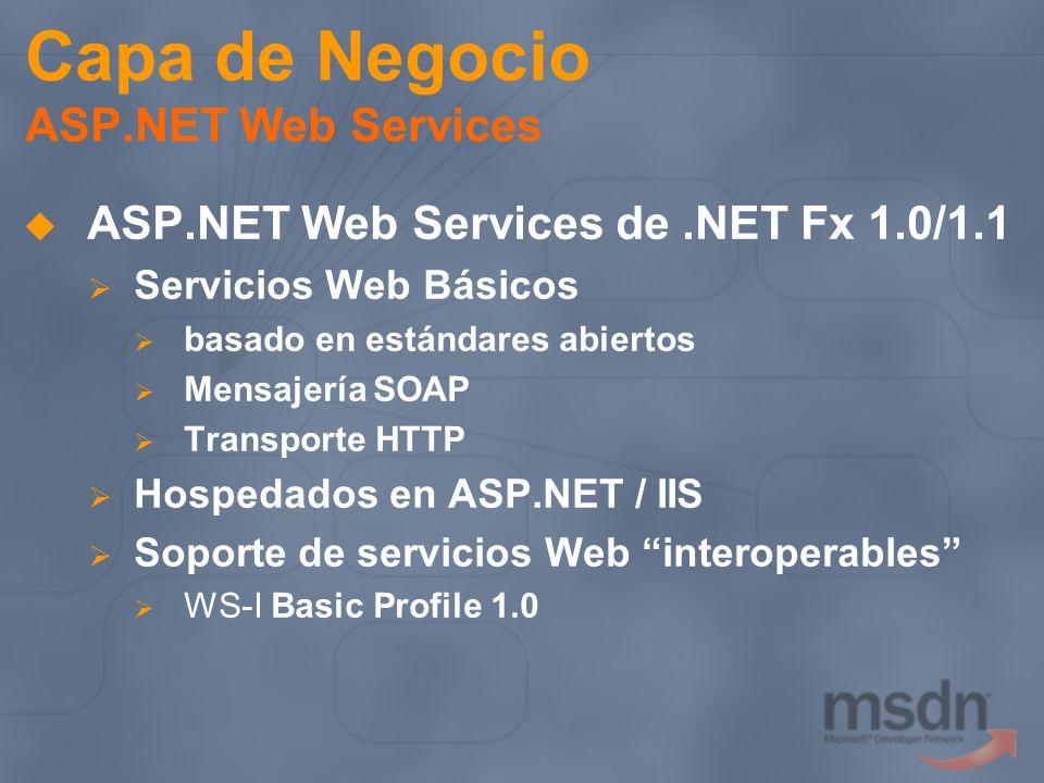 Capa de Negocio ASP.NET Web Services ASP.NET Web Services de.NET Fx 1.0/1.1 Servicios Web Básicos basado en estándares abiertos Mensajería SOAP Transp