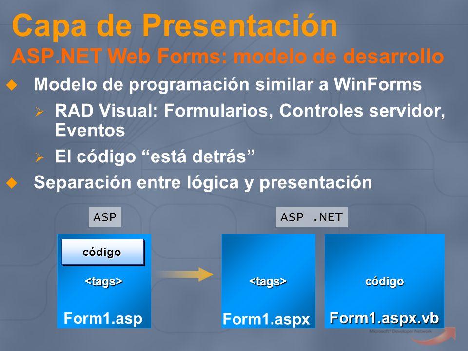 Capa de Presentación ASP.NET Web Forms: modelo de desarrollo Modelo de programación similar a WinForms RAD Visual: Formularios, Controles servidor, Ev