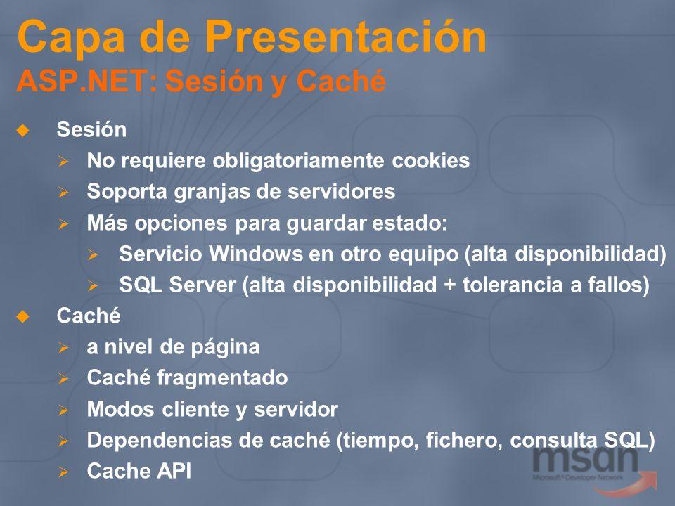 Capa de Presentación ASP.NET: Sesión y Caché Sesión No requiere obligatoriamente cookies Soporta granjas de servidores Más opciones para guardar estad
