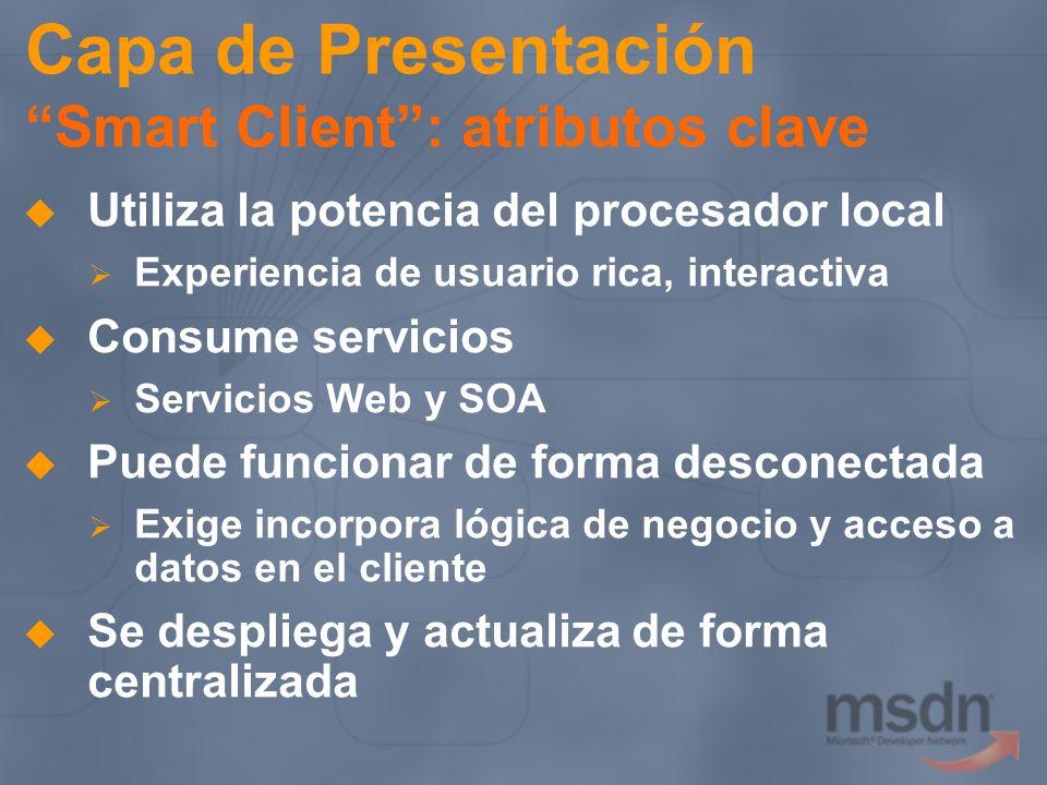 Capa de Presentación Smart Client: atributos clave Utiliza la potencia del procesador local Experiencia de usuario rica, interactiva Consume servicios