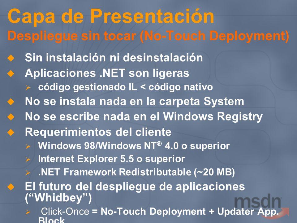 Capa de Presentación Despliegue sin tocar (No-Touch Deployment) Sin instalación ni desinstalación Aplicaciones.NET son ligeras código gestionado IL <