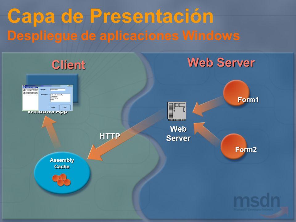 Web Server Assembly Cache HTTP Client Windows App Form1 Form2 Capa de Presentación Despliegue de aplicaciones Windows