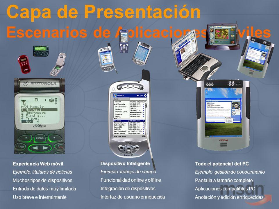 Capa de Presentación Escenarios de Aplicaciones Móviles Experiencia Web móvil Ejemplo: titulares de noticias Muchos tipos de dispositivos Entrada de d