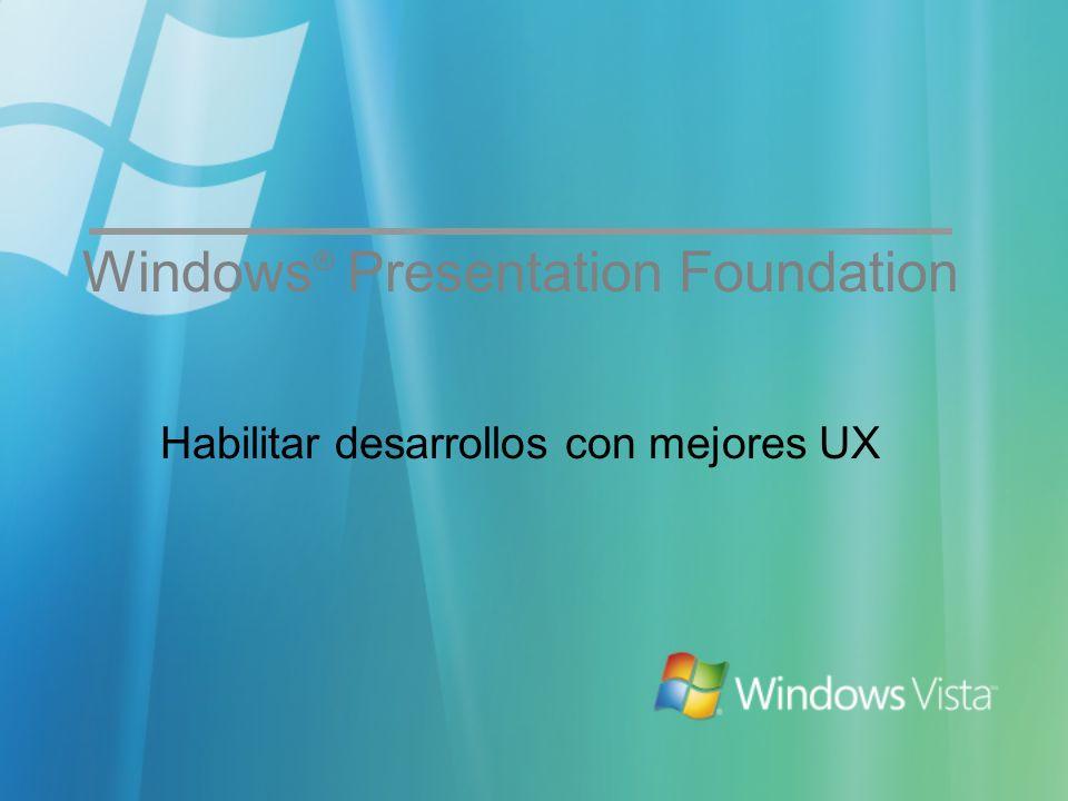 Habilitar desarrollos con mejores UX Windows ® Presentation Foundation