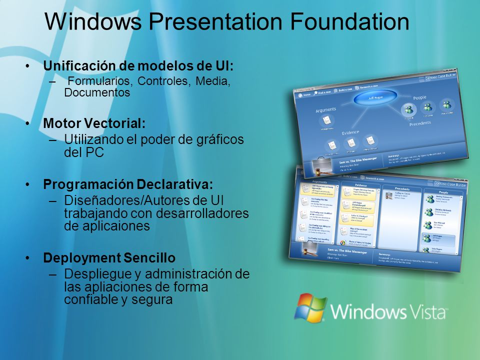 Windows Presentation Foundation Unificación de modelos de UI: – Formularios, Controles, Media, Documentos Motor Vectorial: –Utilizando el poder de grá