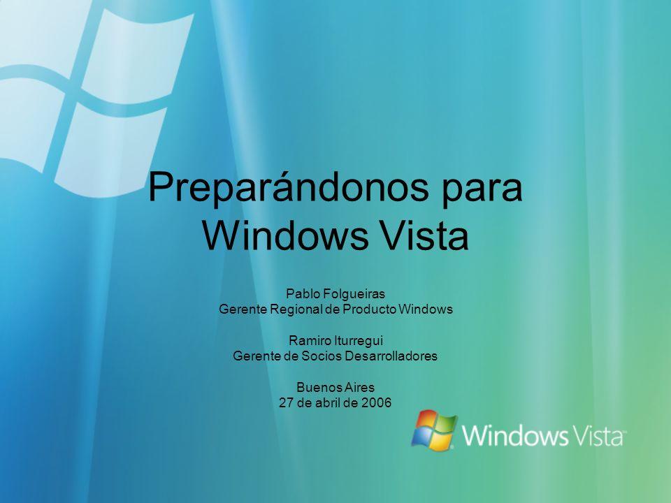 Preparándonos para Windows Vista Pablo Folgueiras Gerente Regional de Producto Windows Ramiro Iturregui Gerente de Socios Desarrolladores Buenos Aires