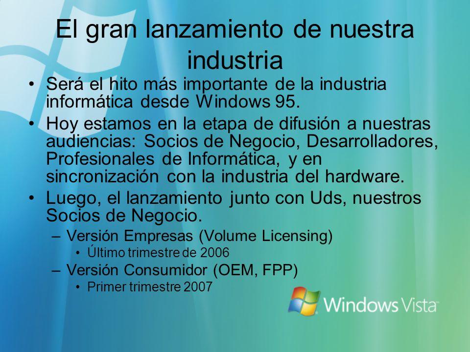 El gran lanzamiento de nuestra industria Será el hito más importante de la industria informática desde Windows 95. Hoy estamos en la etapa de difusión