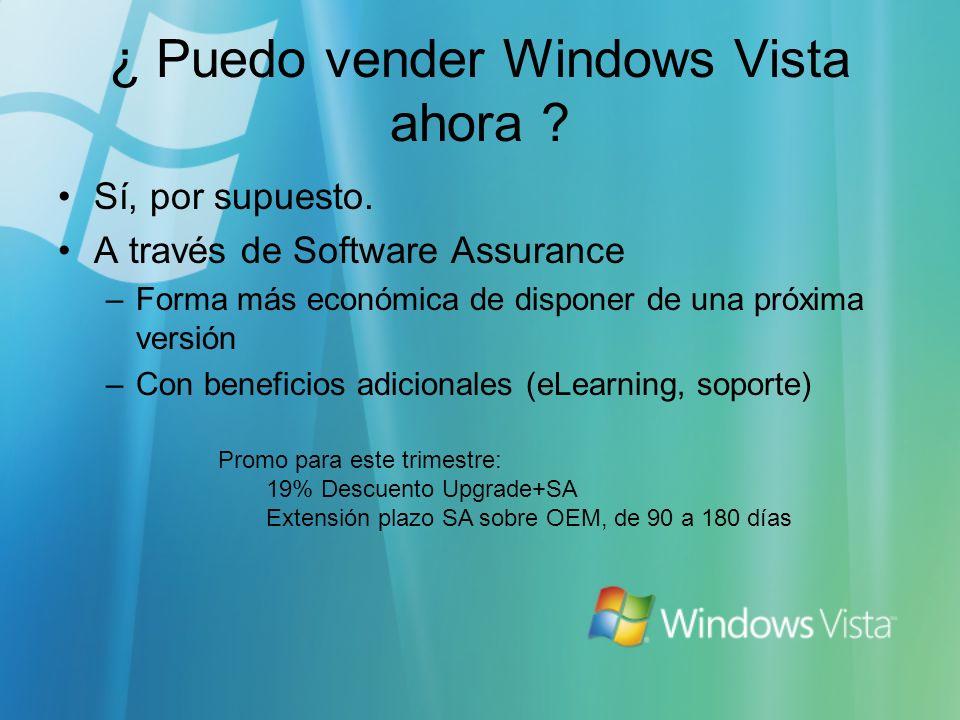 ¿ Puedo vender Windows Vista ahora ? Sí, por supuesto. A través de Software Assurance –Forma más económica de disponer de una próxima versión –Con ben