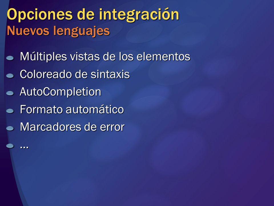 Opciones de integración Nuevos lenguajes Múltiples vistas de los elementos Coloreado de sintaxis AutoCompletion Formato automático Marcadores de error …