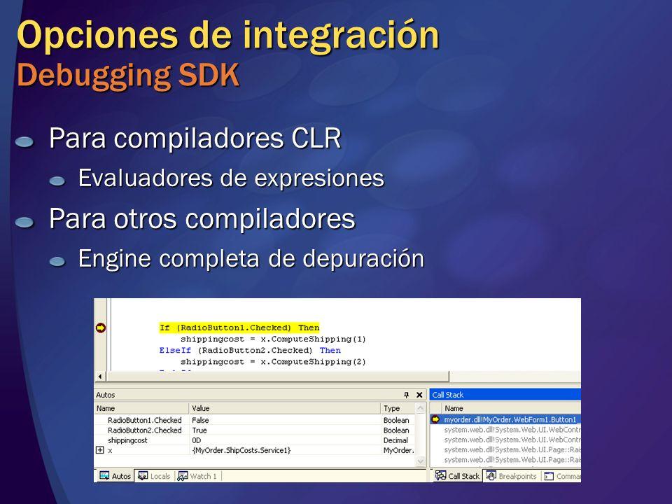 Opciones de integración Debugging SDK Para compiladores CLR Evaluadores de expresiones Para otros compiladores Engine completa de depuración