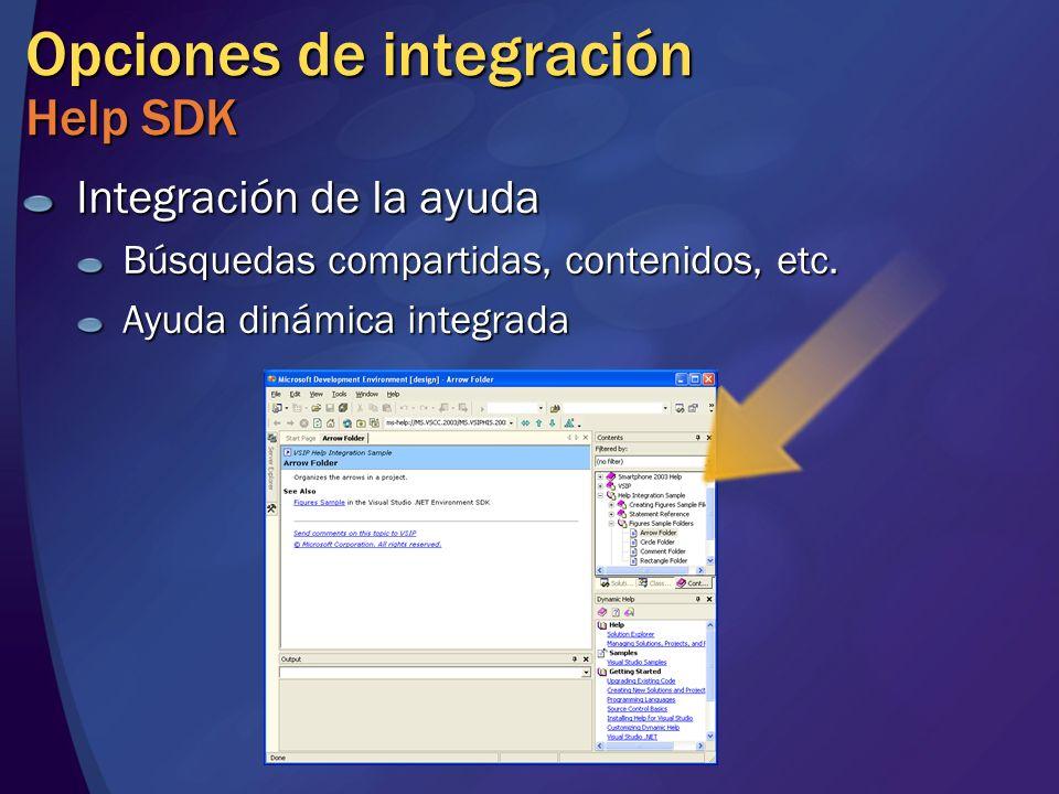 Opciones de integración Help SDK Integración de la ayuda Búsquedas compartidas, contenidos, etc.