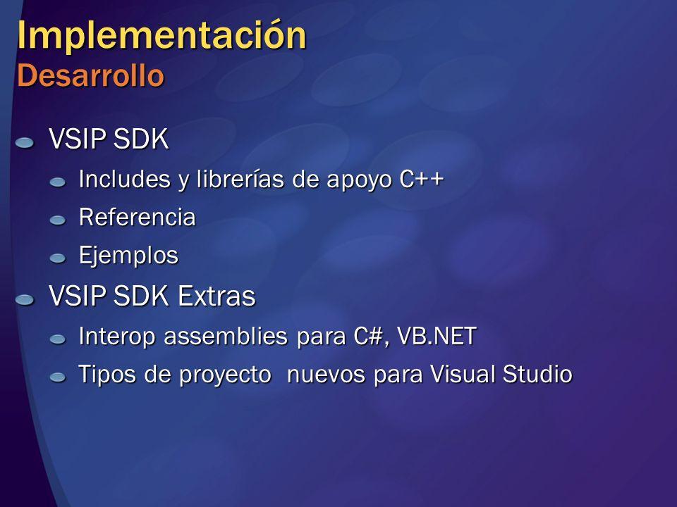Implementación Desarrollo VSIP SDK Includes y librerías de apoyo C++ ReferenciaEjemplos VSIP SDK Extras Interop assemblies para C#, VB.NET Tipos de proyecto nuevos para Visual Studio
