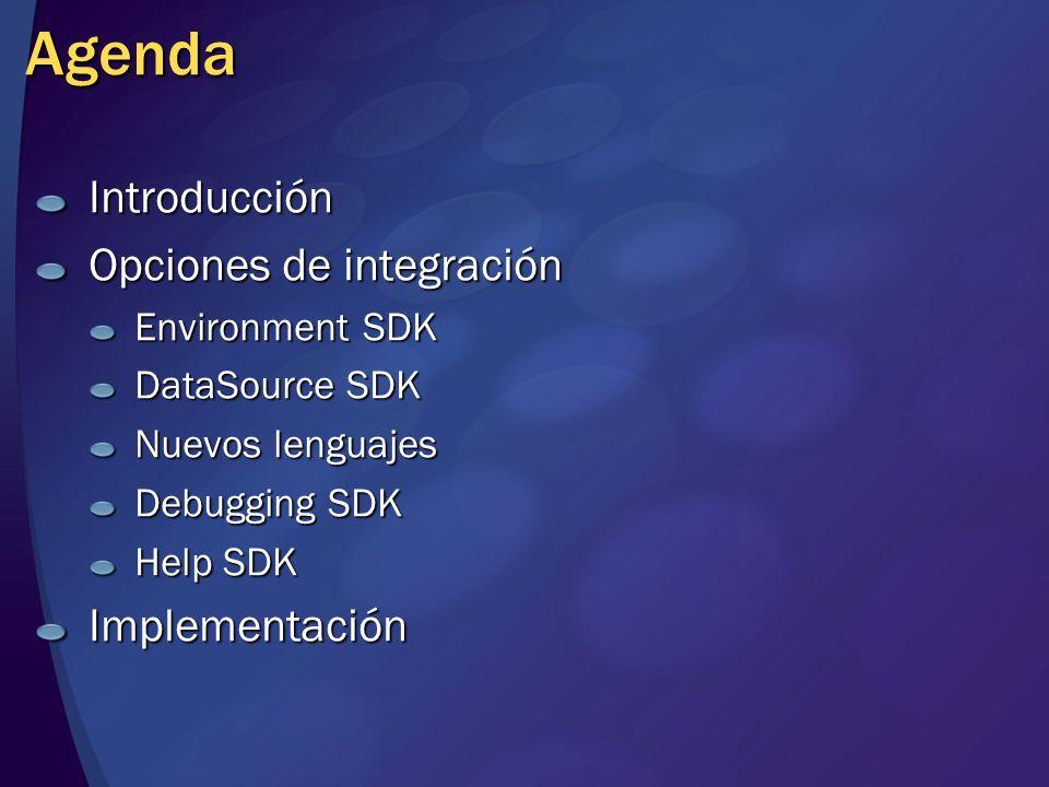 Agenda Introducción Opciones de integración Environment SDK DataSource SDK Nuevos lenguajes Debugging SDK Help SDK Implementación